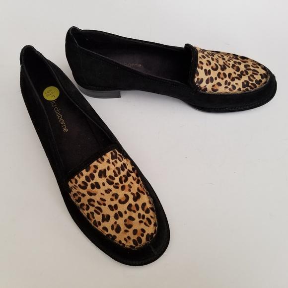 e887020739a Liz Claiborne Shoes - Liz Claiborne Black Suede Leopard Print Loafers